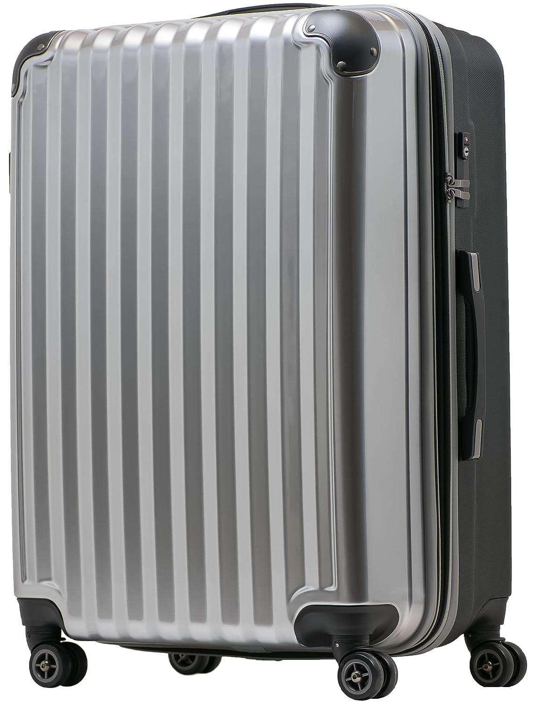 【JP Design】スーツケース 超軽量 tsaロック 容量アップ拡張機能付 ダブルキャスター8輪(機内持込~LL 全4サイズ)ハードキャリー ファスナータイプ キャリーバッグ キャリーケース B076DGT5CQ LL|シルバー/BK シルバー/BK LL