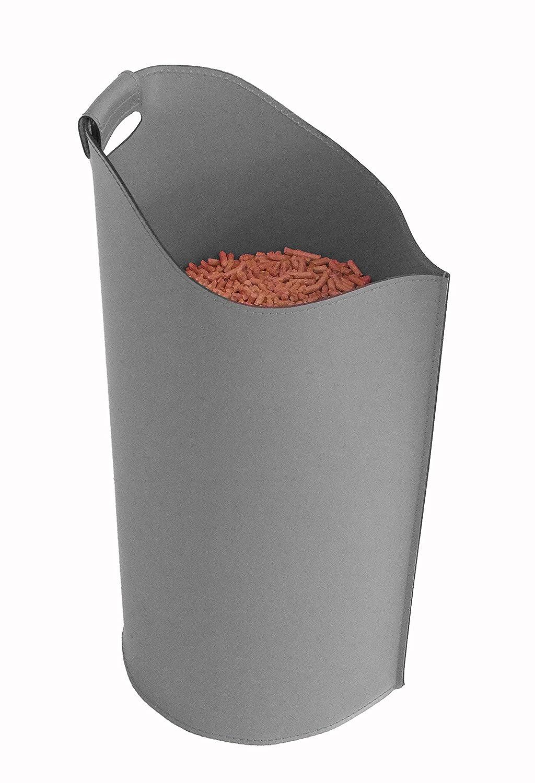 SAPEL: borsa porta pellet in cuoio colore Antracite. Gavemo