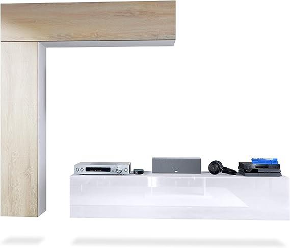 Mueble de Pared Taurito, Cuerpo en Blanco Mate/frentes en Blanco de Alto Brillo y Roble áspero: Vladon: Amazon.es: Hogar