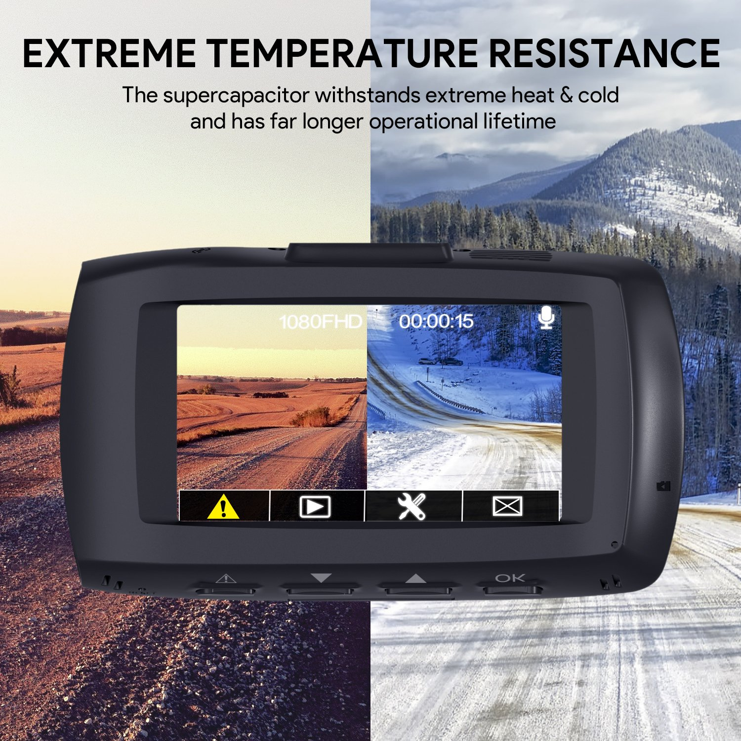 """AUKEY 1080p Dual Dash Cams with 2.7"""" Screen, Full HD Front and Rear Camera, 6-Lane 170° Wide-Angle Lens, G-Sensor, and Dual-Port Car Charger by AUKEY (Image #5)"""