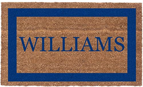Coco Mats N More Blue Single Bordered Personalized Coco Doormat 38 x 60 with Vinyl Backing
