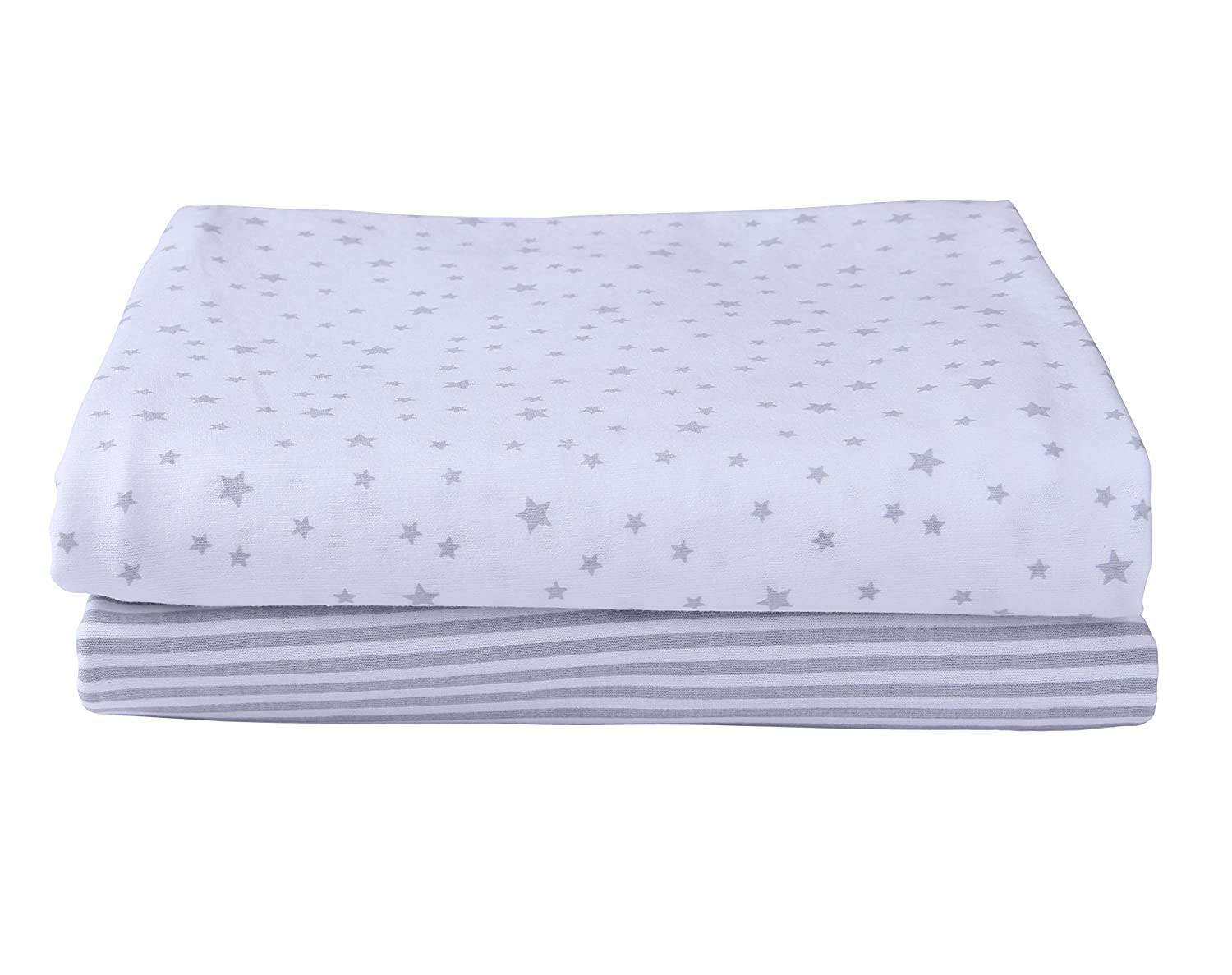 Stars & Stripes 2 Pack Fitted Pram/Crib Sheets - Grey Clair de Lune CL5668G