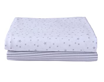 Etonnant Stars U0026 Stripes 2 Pack Fitted Cot Bed Sheets   Grey