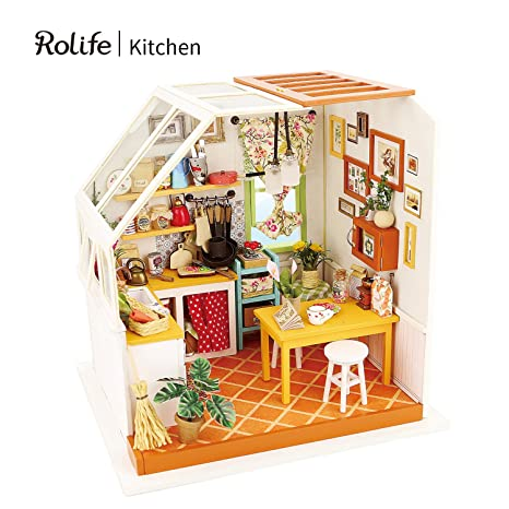 Amazon rolife diy miniature dollhouse kit with light wooden rolife diy miniature dollhouse kit with light wooden mini house set to build kitchen solutioingenieria Image collections