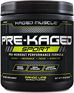 Pre Workout Powder; Kaged Muscle Pre-Kaged Sport Pre Workout For Men And Women, Increase Energy, Focus, Hydration, and Endurance, Organic Caffeine, Plant Based Citrulline, Mango Lime