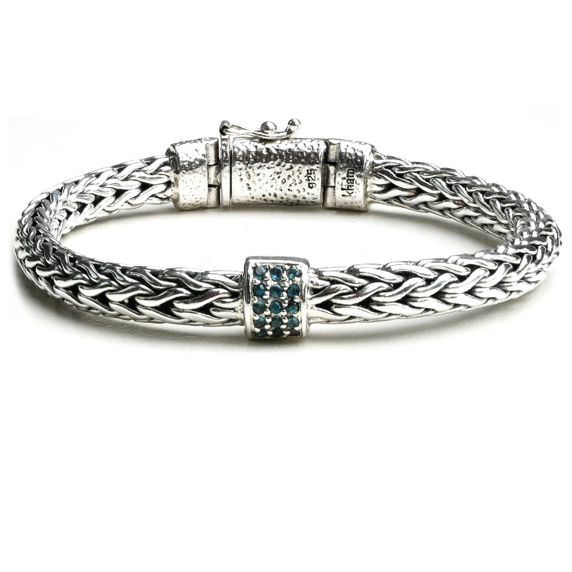 Handcraft Braided Bali Style 925 Sterling Silver with Blue Topaz Station Link Chain Bracelet for Women (7.5)