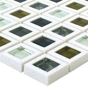 Muster Glas Kunststoff Mosaik Fliesen Anatolia Grun Weiss