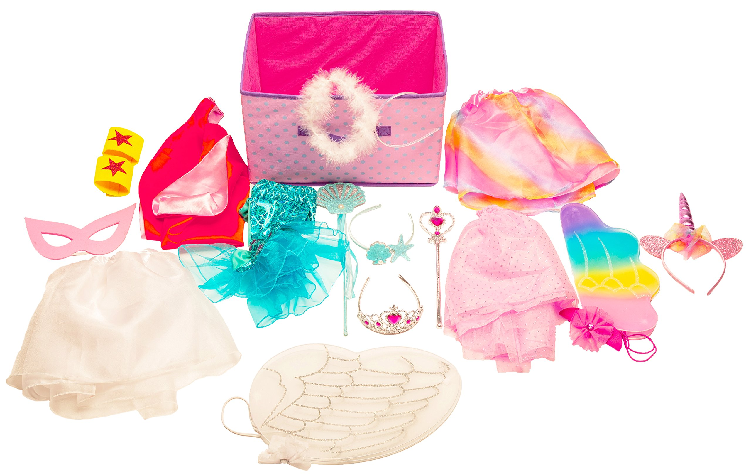 Girls Dress Up Set: Unicorn, Superhero, Angel, Mermaid, Princess - with Storage bin Pink by MMP Living (Image #2)