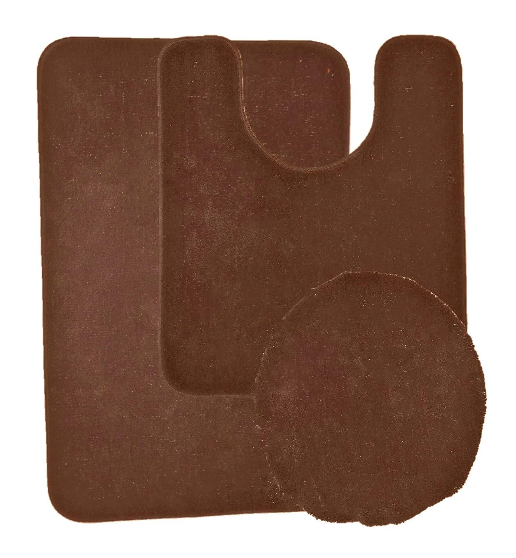 Elaine Karen Deluxe Anti Slip Rubber Back Antibacterial 3 Piece Soft Bathroom Rug Set - Beige