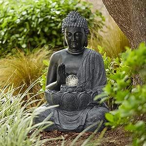 "John Timberland Sitting Buddha 28"" High Bronze LED Water Fountain"