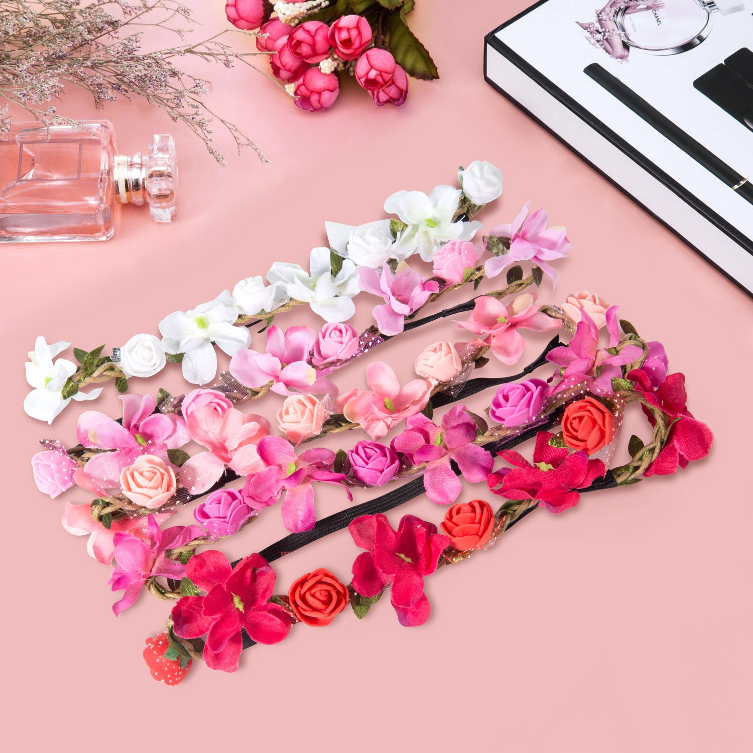 6 ZWOOS 4 Pieces Flower Headband with Elastic Ribbon Floral Garland for Festival Wedding Party Flower Headband Crown
