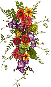 "Nearly Natural 4578 Garden Flower Teardrop,24"""