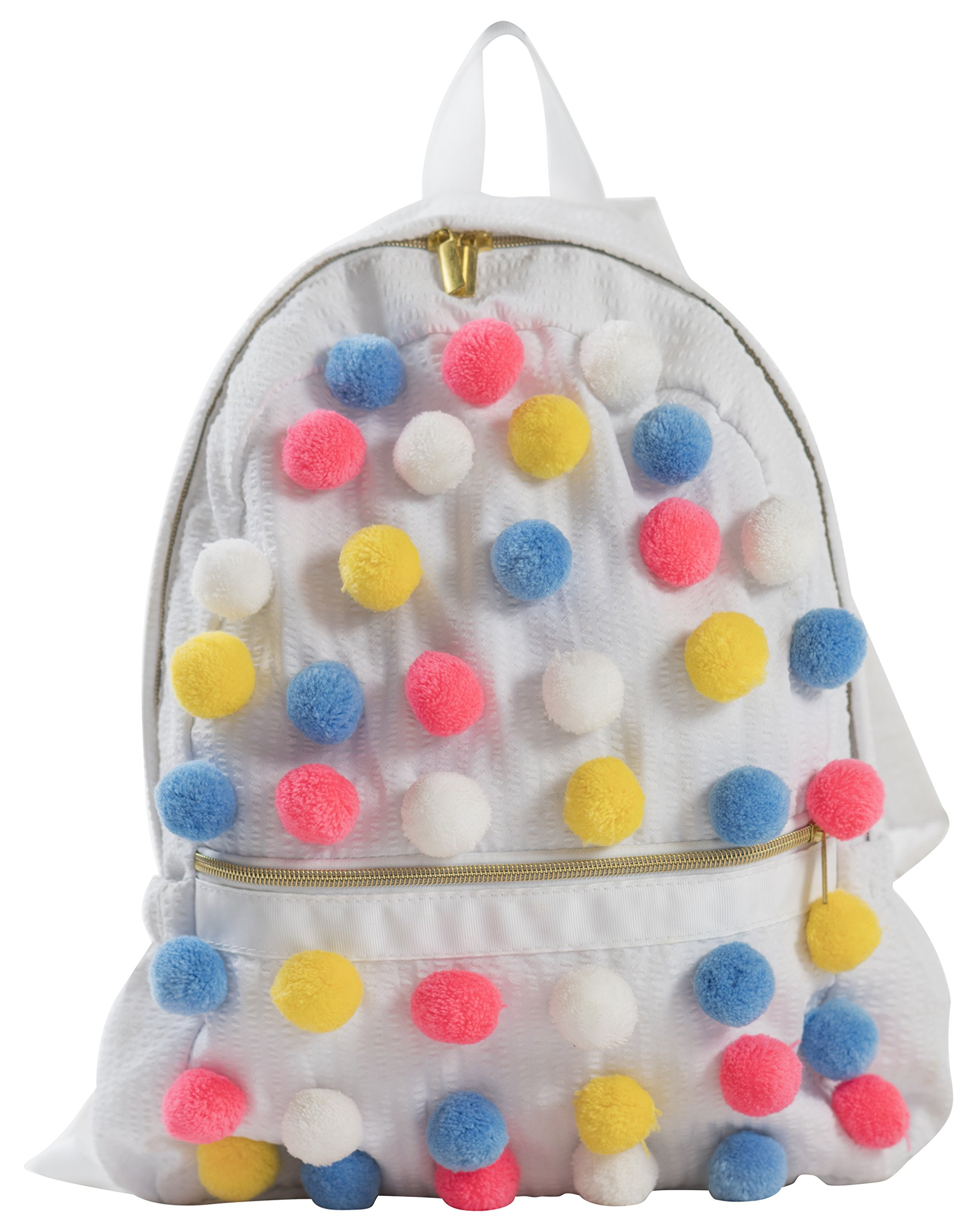 Palm Beach Crew Seersucker Backpack or Mini Seaside Sweets Collection, White Bright Poms