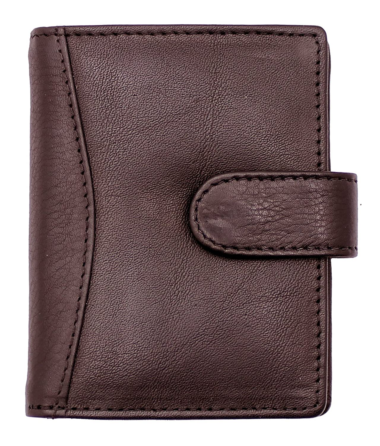 RAS WALLETS Men's Leather Credit Card Holder Wallet-20 Clear Plastic Pockets Brown