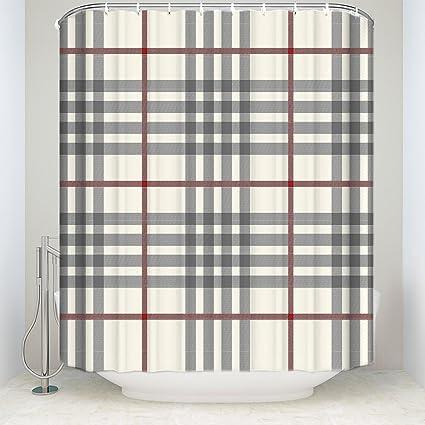 Rustic Grey Ivory Red Buffalo Check Plaid Polyester Fabric Bathroom Shower Curtain 72x72inch
