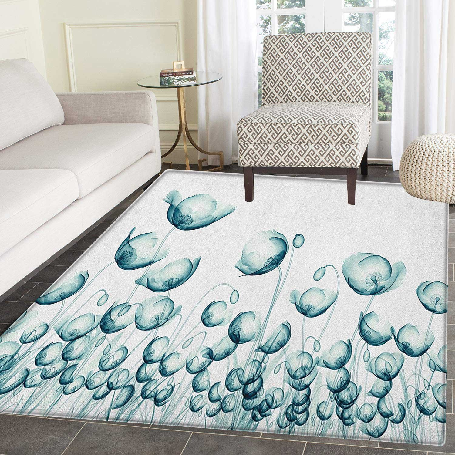 Amazon.com: Flower Rugs for Bedroom X-ray Picture of Poppy ...