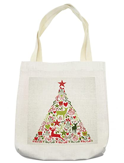 lunarable christmas tote bag new year theme popular seasonal traditional ornaments and star with tree