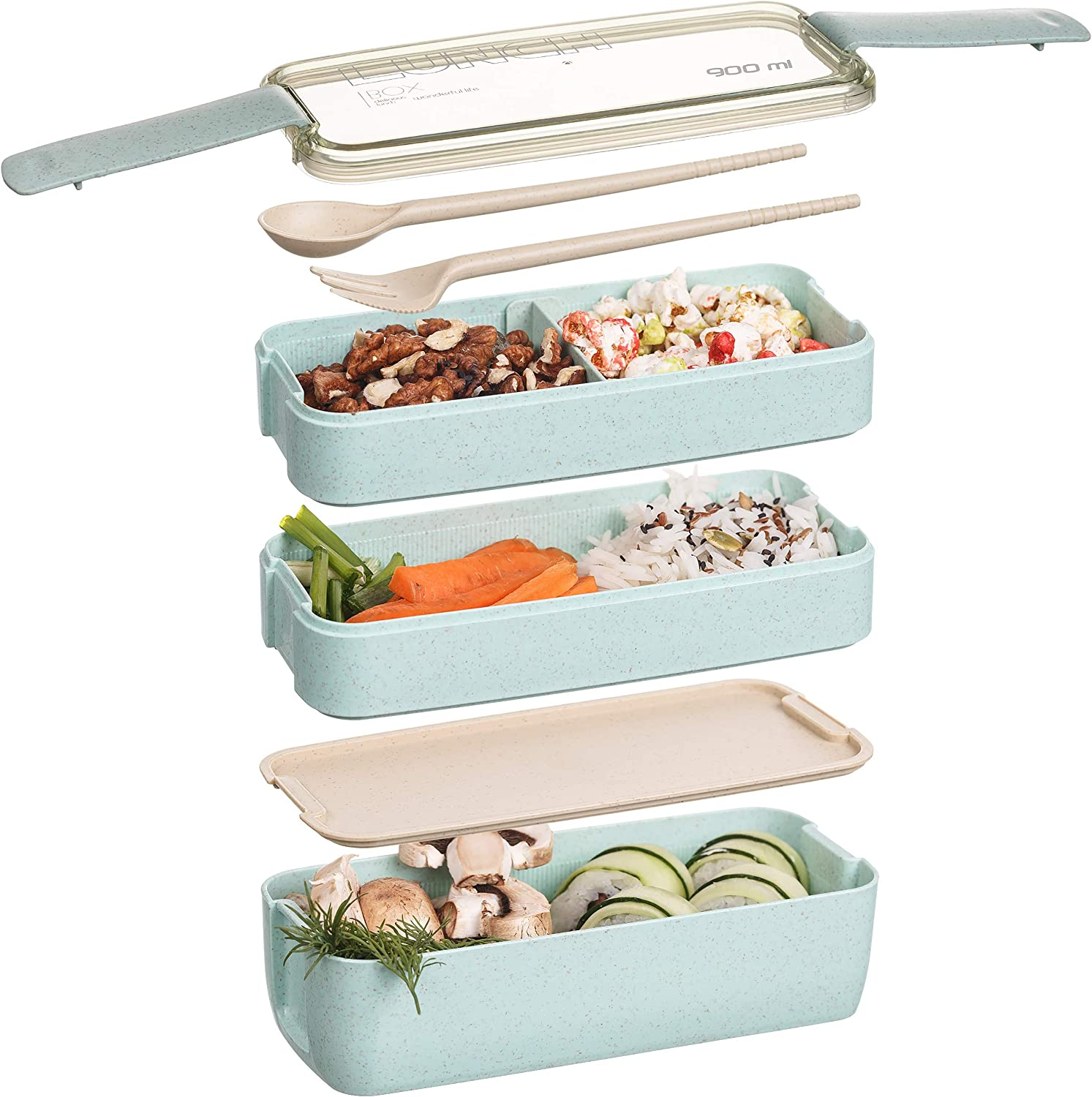 Bento lunch box kids- Meal prep Containers with divider- 3 Stackable Lunchbox, Microwave safe, Leakproof BPA Free- Built-in Plastic Silverware Utensils