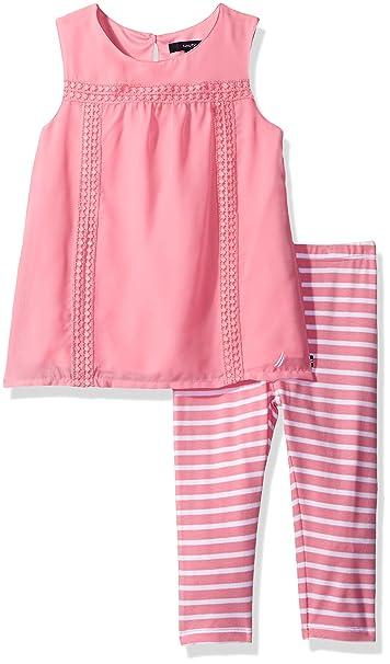 ce776cdc789db Amazon.com: Nautica Girls' Chiffon Top with Stripe Legging Set: Clothing