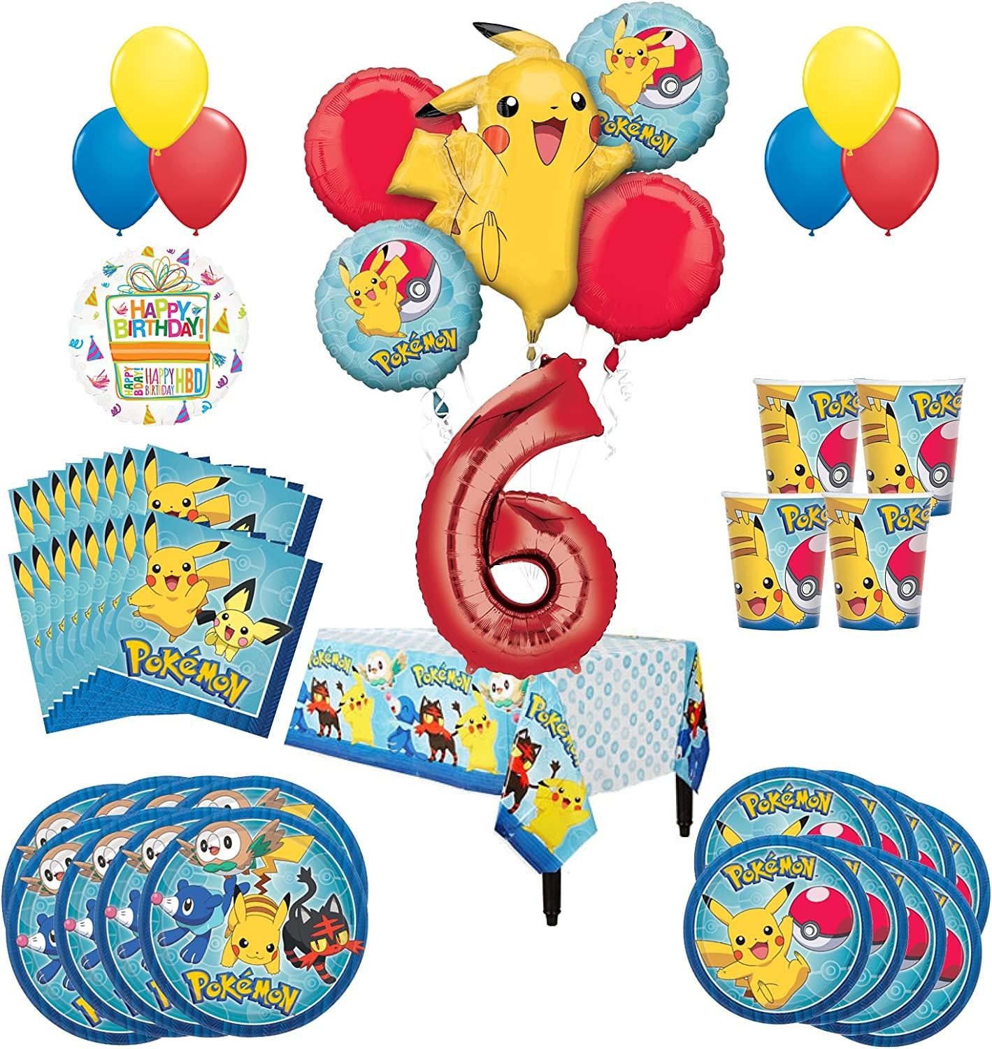 Mayflower Products Pokemon 6th Birthday Party Supplies Balloon Bouquet Decorations