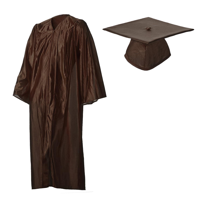 卒業キャップとガウンセット光沢ブラウン複数のサイズ 51 (5'6\  B016J8IW9C