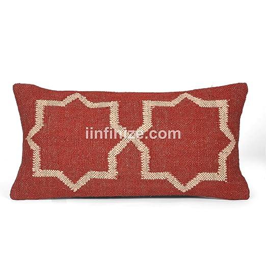 Funda de cojín rectangular indio de yute bohemio al aire ...