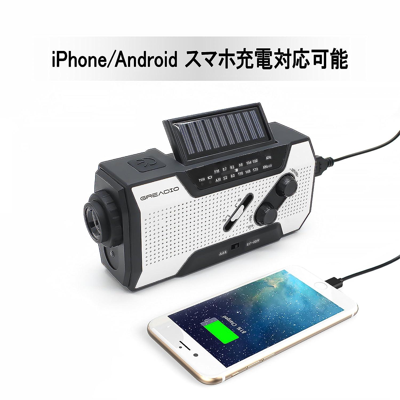 ラジオライト 懐中電灯 USB充電 手回し充電 太陽光充電