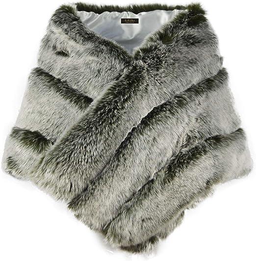Fashion Lady Faux Fox Fur Faux Rabbit fur Cape//Coat Party Bridal Accessories