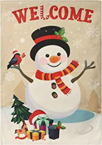 TALITARE Christmas Flag 27.5x40 inches Double Sided,Christmas White Snowman Garden Flag for Deck Terrace Porch Balcony Provide Backyard and Lawn