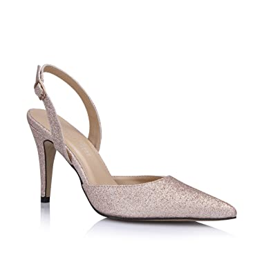 18019a0861a Women s Dress Pointy Toe Slingback Slim Heeled Sandal Pumps Glitter Gold Pointed  Toe Shoes Slim Fit