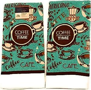 2 Coffee Theme Kitchen Towels (Coffee Time)