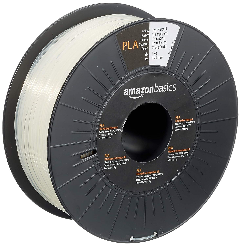Amazon Basics PLA 3D Printer Filament, 1.75mm, Translucent, 1 kg Spool