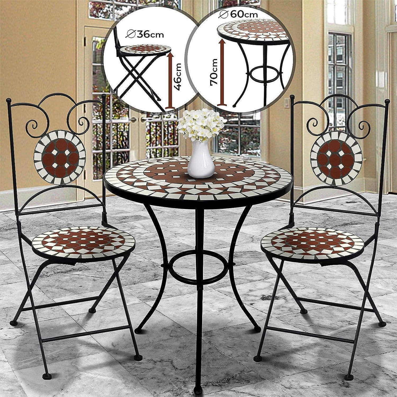 Nova Juego de jardín Mosaico – Mesa Redonda o Cuadrada + 2 sillas Plegables (Altura del Asiento 46 cm) – Muebles de Exterior, de balcón: Amazon.es: Jardín