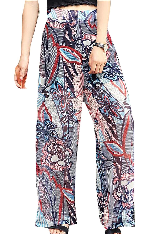 Vska Women Printed Chiffon Casual Loose Wide Leg Pants