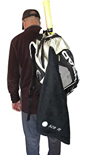 Springcreek Gear Hangable, 100% Cotton Tennis Towel with a Hook (Black and Tennis