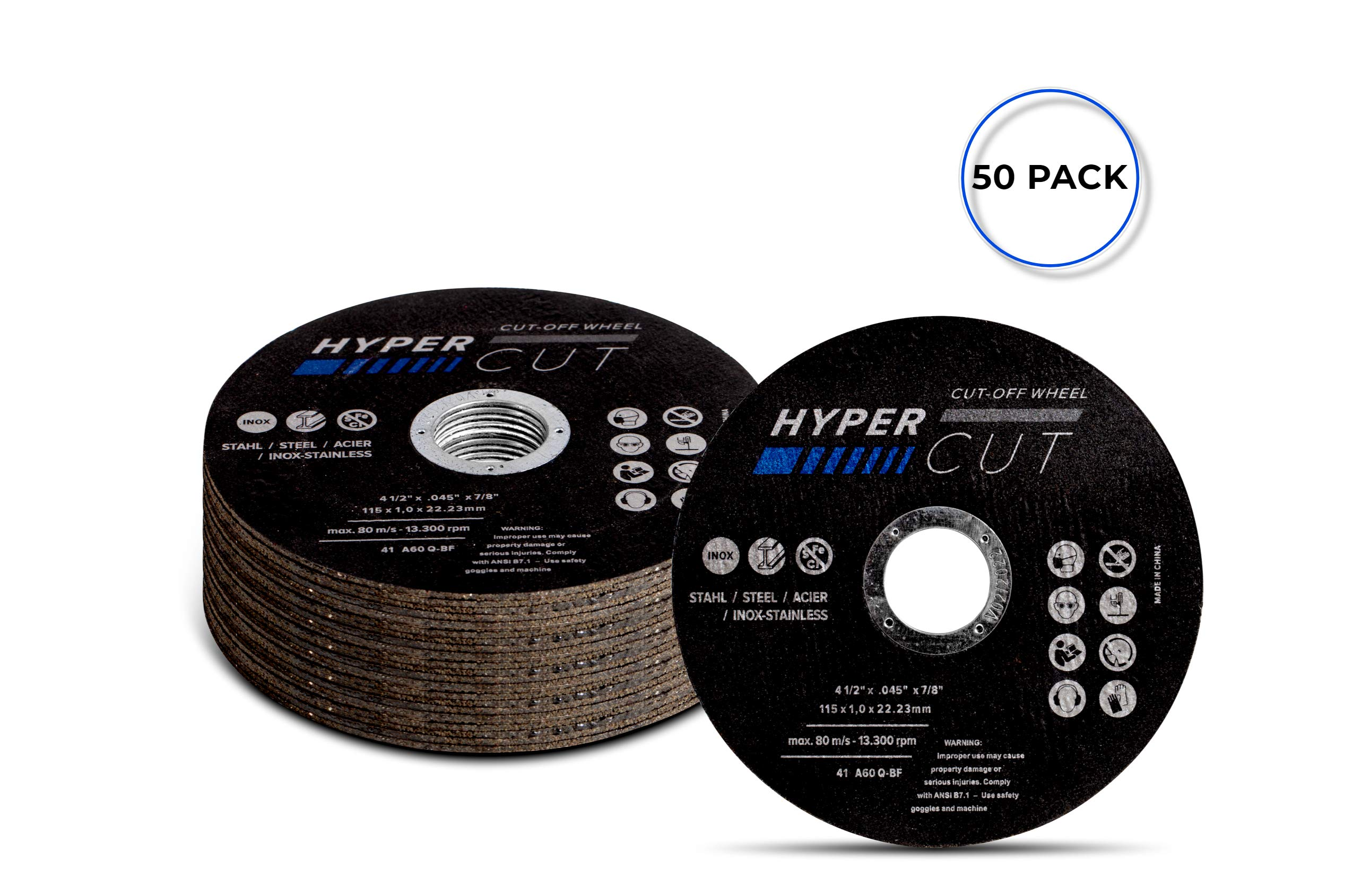 Hypercut 50 Pack Premium 4-1/2'' Metal and Stainless Steel (INOX) Cutting Disc, Updated Cut-Off Wheel T41 (50)