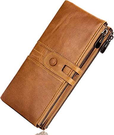 ROULENS Genuine Leather Womens Wallets,Multi-function Slim Bifold Zipper Clutch Purse,Large Capacity Card Holder with RFID