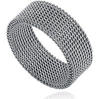 Milo Bruno 8MM Stainless Steel Mesh Ring