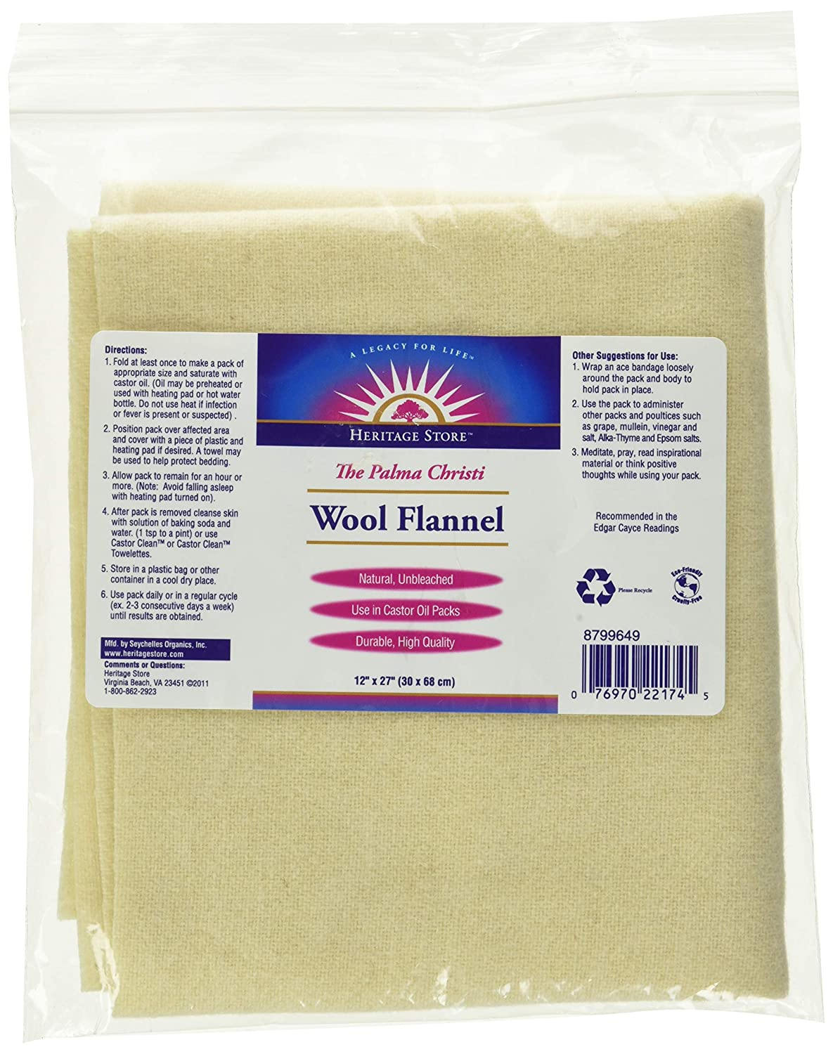 "Heritage Products Wool Flannel, Palma Christi, 1 flannel 12"" X 27"""