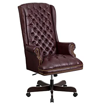 Flash Furniture High Back Traditional Tufted Burgundy Leather Executive  Swivel Chair With Arms