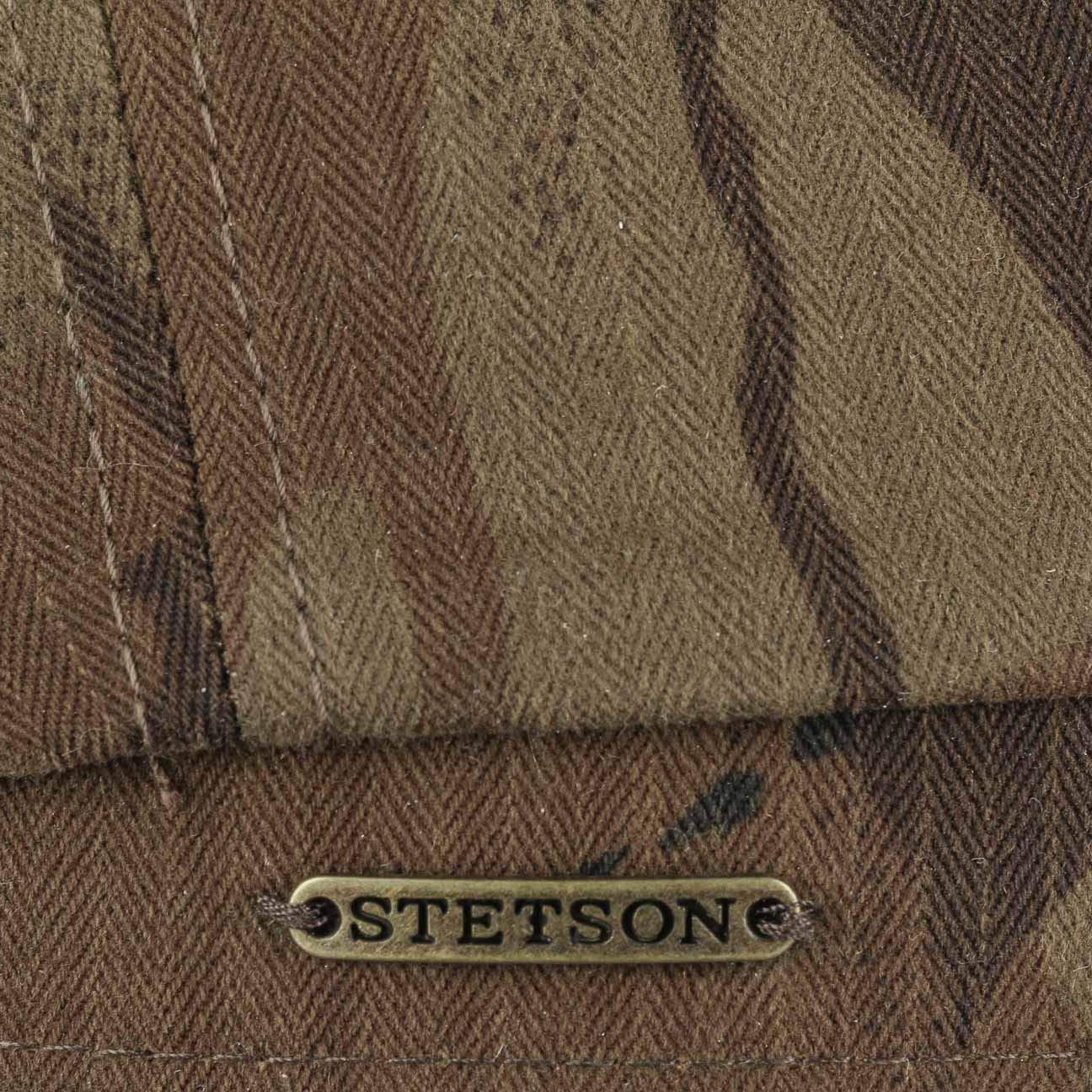 Stetson Coppola Hatteras Waxed Cotton Camo Uomo Made in The EU Berretto Newsboy Piatto Cappellino Outdoor con Visiera Fodera Autunno//Inverno