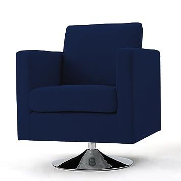 Charmant Hahn Modern Cream Fabric Swivel Armchair (Navy Blue)