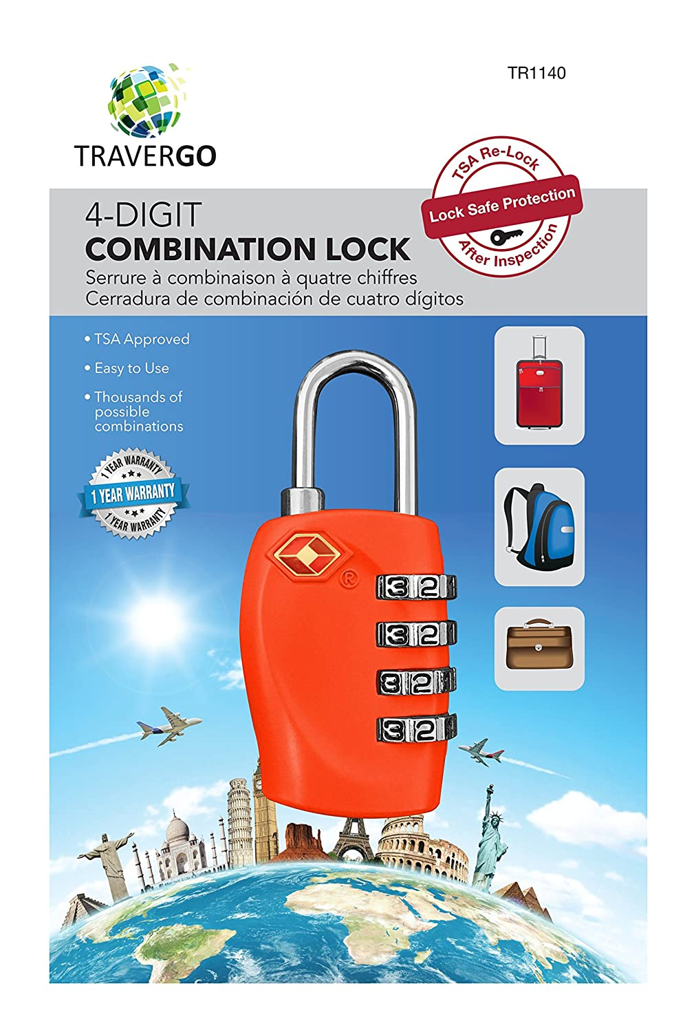 Amazon.com: Go Green Power 4 Digit Combination Lock, Red, 0.2 Pound: Health & Personal Care