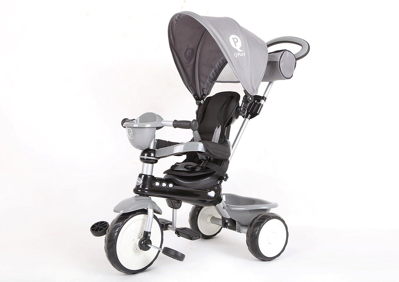 Mondial Toys Triciclo qplay Comfort 4in1con Barra Varilla y cappottina Parasol Color Gris