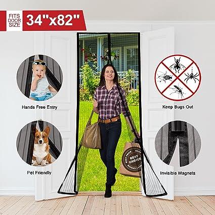 Magnetic Screen Door Full Frame Velcro Mesh Door Curtain Polyester