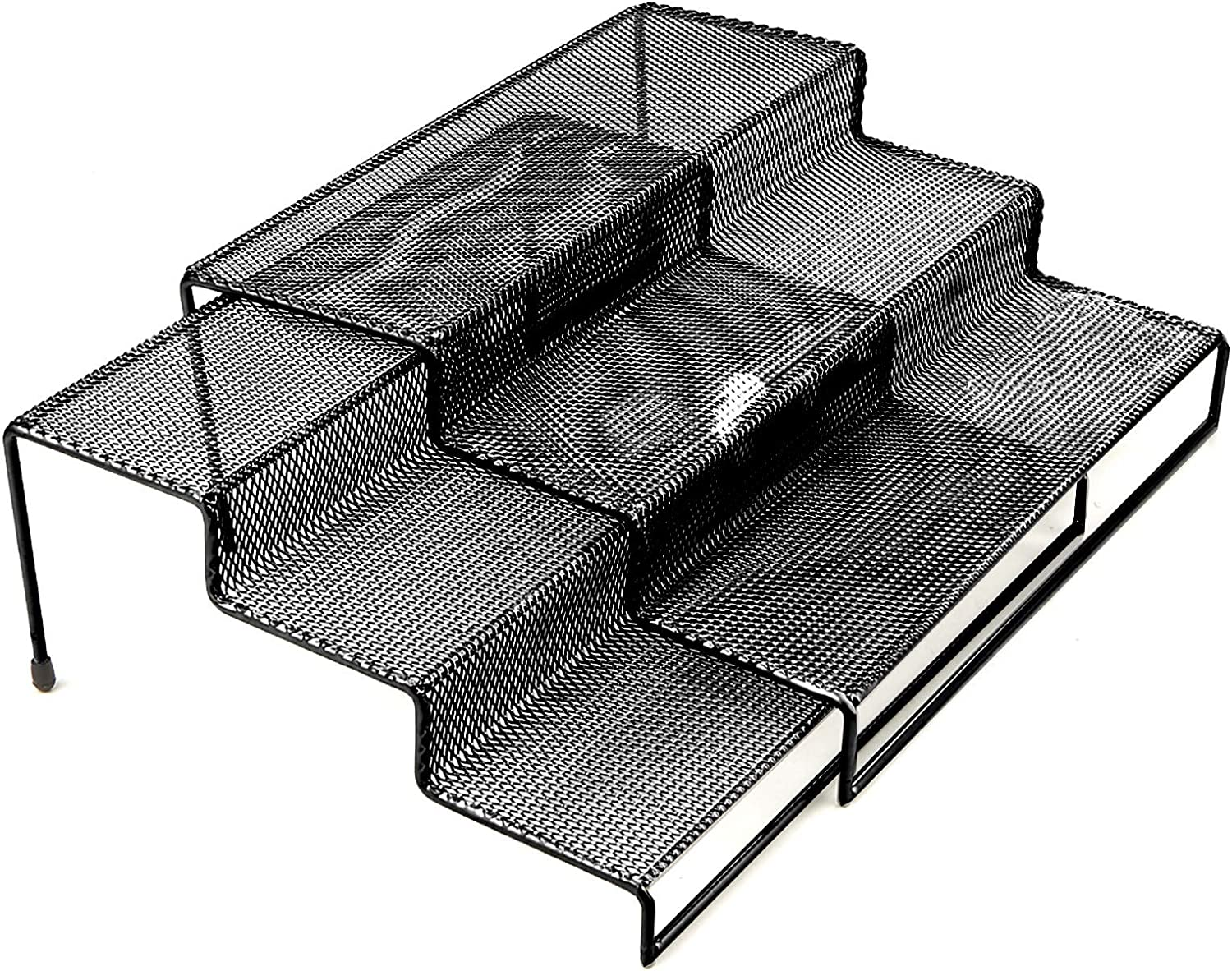 Mind Reader 3TSHELF2-BLK 3 Tier Multi Purpose Kitchen Storage Organizer Steps, 2 Pack, Metal Mesh, Black
