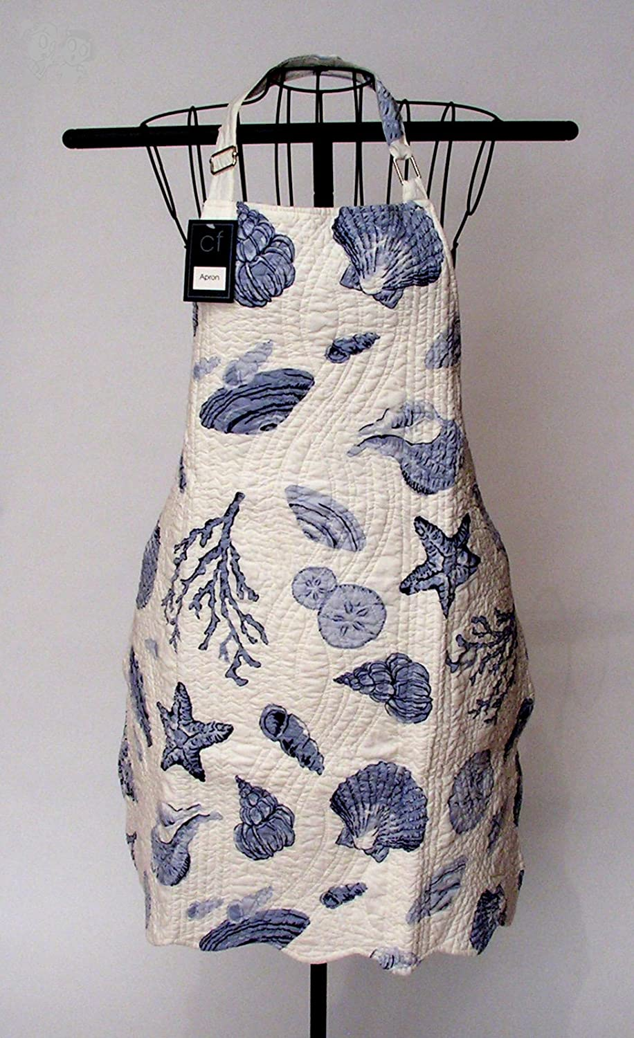 C&F Home 29x31 Adult Quilted Reversible Apron, Natural Shells