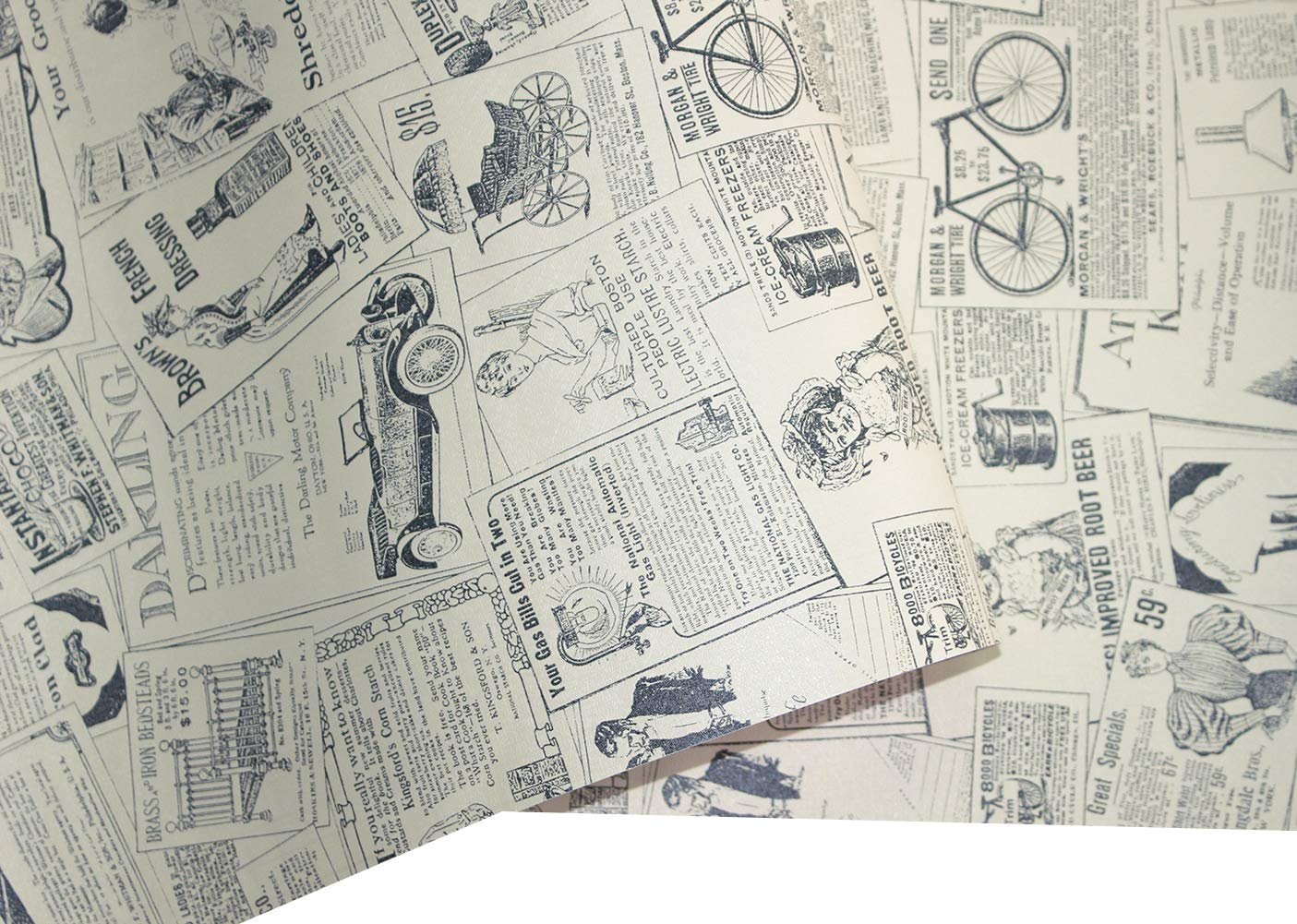 HaokHome 63275 Thick Material Vintage Newspaper Peel & Stick Wallpaper 17.7'' x 19.7ft Beige/Black Self Adhesive Contact Paper