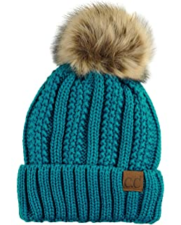 a6995bc37b4 C.C Thick Cable Knit Faux Fuzzy Fur Pom Fleece Lined Skull Cap Cuff Beanie