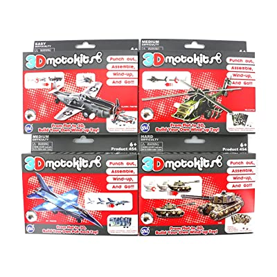 Super Impulse 3D Motokits Punch Out, Assemble, Windup, GO! Toy (Military Series) Jet Fighter, Helicopter, Tank, Classic Fighter: Toys & Games